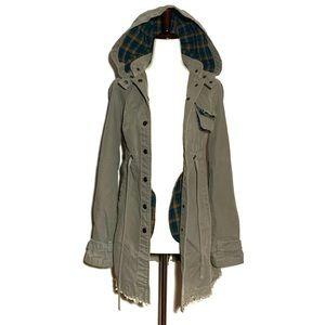 Free People Army Military Olive Coat Jacket Hood